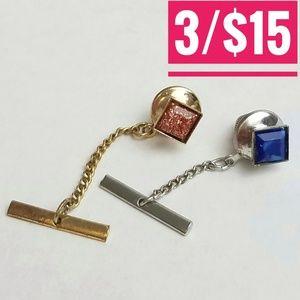 Vintage Blue Pink Tie Tack Pins Set